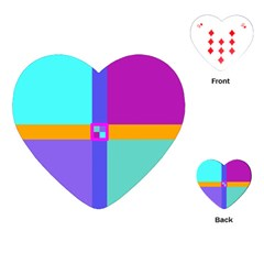 Right Angle Squares Stripes Cross Colored Playing Cards (heart)  by EDDArt