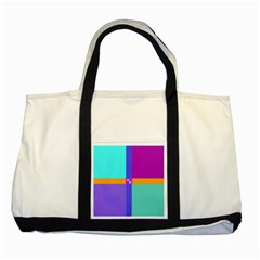 Right Angle Squares Stripes Cross Colored Two Tone Tote Bag by EDDArt
