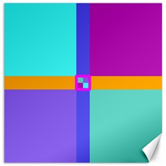 Right Angle Squares Stripes Cross Colored Canvas 12  X 12   by EDDArt