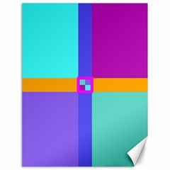 Right Angle Squares Stripes Cross Colored Canvas 18  X 24   by EDDArt