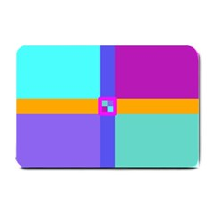 Right Angle Squares Stripes Cross Colored Small Doormat  by EDDArt