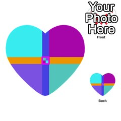 Right Angle Squares Stripes Cross Colored Multi Purpose Cards (heart)  by EDDArt