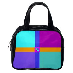 Right Angle Squares Stripes Cross Colored Classic Handbags (one Side) by EDDArt