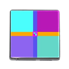 Right Angle Squares Stripes Cross Colored Memory Card Reader (square) by EDDArt