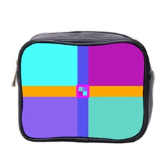 Right Angle Squares Stripes Cross Colored Mini Toiletries Bag 2 Side by EDDArt