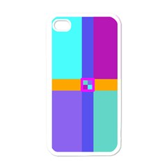 Right Angle Squares Stripes Cross Colored Apple Iphone 4 Case (white) by EDDArt