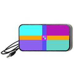Right Angle Squares Stripes Cross Colored Portable Speaker (black)  by EDDArt