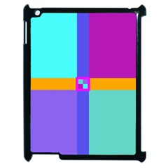 Right Angle Squares Stripes Cross Colored Apple Ipad 2 Case (black) by EDDArt