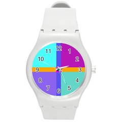 Right Angle Squares Stripes Cross Colored Round Plastic Sport Watch (m) by EDDArt