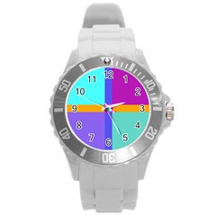 Right Angle Squares Stripes Cross Colored Round Plastic Sport Watch (l) by EDDArt
