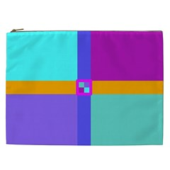 Right Angle Squares Stripes Cross Colored Cosmetic Bag (xxl)  by EDDArt