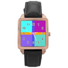 Right Angle Squares Stripes Cross Colored Rose Gold Leather Watch  by EDDArt