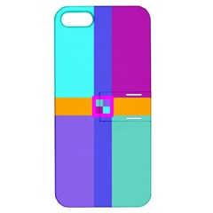 Right Angle Squares Stripes Cross Colored Apple Iphone 5 Hardshell Case With Stand by EDDArt