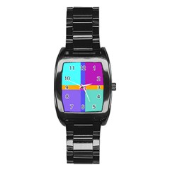 Right Angle Squares Stripes Cross Colored Stainless Steel Barrel Watch by EDDArt