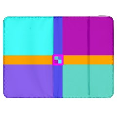 Right Angle Squares Stripes Cross Colored Samsung Galaxy Tab 7  P1000 Flip Case by EDDArt