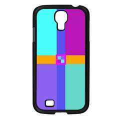 Right Angle Squares Stripes Cross Colored Samsung Galaxy S4 I9500/ I9505 Case (black) by EDDArt