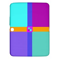 Right Angle Squares Stripes Cross Colored Samsung Galaxy Tab 3 (10 1 ) P5200 Hardshell Case  by EDDArt