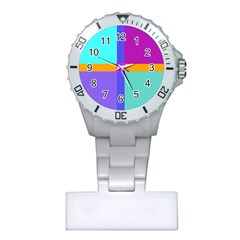 Right Angle Squares Stripes Cross Colored Plastic Nurses Watch by EDDArt