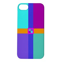 Right Angle Squares Stripes Cross Colored Apple Iphone 5s/ Se Hardshell Case by EDDArt