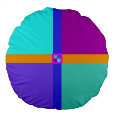 Right Angle Squares Stripes Cross Colored Large 18  Premium Flano Round Cushions by EDDArt