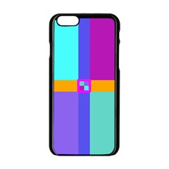 Right Angle Squares Stripes Cross Colored Apple Iphone 6/6s Black Enamel Case by EDDArt