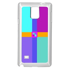 Right Angle Squares Stripes Cross Colored Samsung Galaxy Note 4 Case (white) by EDDArt