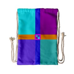 Right Angle Squares Stripes Cross Colored Drawstring Bag (small) by EDDArt