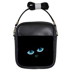 Halloween   Black Cat   Blue Eyes Girls Sling Bags by Valentinaart