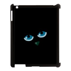 Halloween   Black Cat   Blue Eyes Apple Ipad 3/4 Case (black) by Valentinaart
