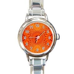 Lotus Fractal Flower Orange Yellow Round Italian Charm Watch by EDDArt
