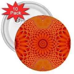 Lotus Fractal Flower Orange Yellow 3  Buttons (10 Pack)  by EDDArt
