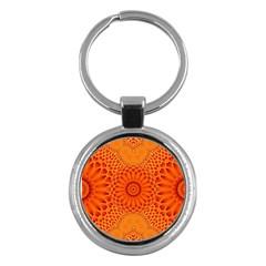 Lotus Fractal Flower Orange Yellow Key Chains (round)  by EDDArt