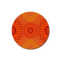 Lotus Fractal Flower Orange Yellow Rubber Coaster (round)  by EDDArt