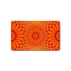 Lotus Fractal Flower Orange Yellow Magnet (name Card) by EDDArt