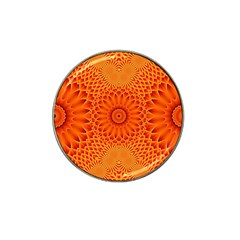 Lotus Fractal Flower Orange Yellow Hat Clip Ball Marker (10 Pack) by EDDArt