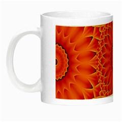 Lotus Fractal Flower Orange Yellow Night Luminous Mugs by EDDArt