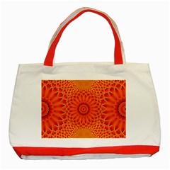 Lotus Fractal Flower Orange Yellow Classic Tote Bag (red) by EDDArt