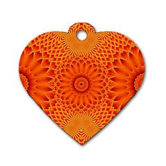 Lotus Fractal Flower Orange Yellow Dog Tag Heart (one Side) by EDDArt