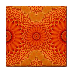 Lotus Fractal Flower Orange Yellow Face Towel by EDDArt