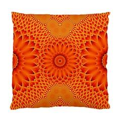 Lotus Fractal Flower Orange Yellow Standard Cushion Case (two Sides) by EDDArt