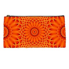 Lotus Fractal Flower Orange Yellow Pencil Cases by EDDArt