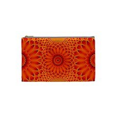 Lotus Fractal Flower Orange Yellow Cosmetic Bag (small)  by EDDArt