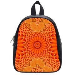 Lotus Fractal Flower Orange Yellow School Bags (small)  by EDDArt