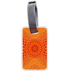 Lotus Fractal Flower Orange Yellow Luggage Tags (two Sides) by EDDArt