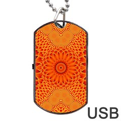 Lotus Fractal Flower Orange Yellow Dog Tag Usb Flash (one Side) by EDDArt