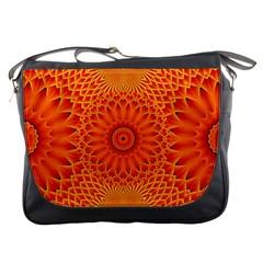 Lotus Fractal Flower Orange Yellow Messenger Bags by EDDArt