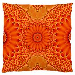 Lotus Fractal Flower Orange Yellow Large Cushion Case (one Side) by EDDArt