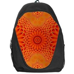 Lotus Fractal Flower Orange Yellow Backpack Bag by EDDArt