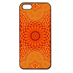 Lotus Fractal Flower Orange Yellow Apple Iphone 5 Seamless Case (black) by EDDArt