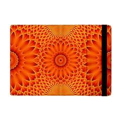 Lotus Fractal Flower Orange Yellow Apple Ipad Mini Flip Case by EDDArt